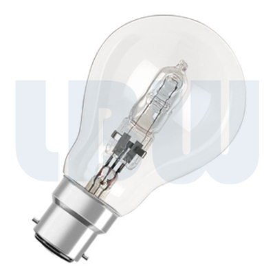 halogen standard shape light bulb 42w bayonet cap bc b22. Black Bedroom Furniture Sets. Home Design Ideas
