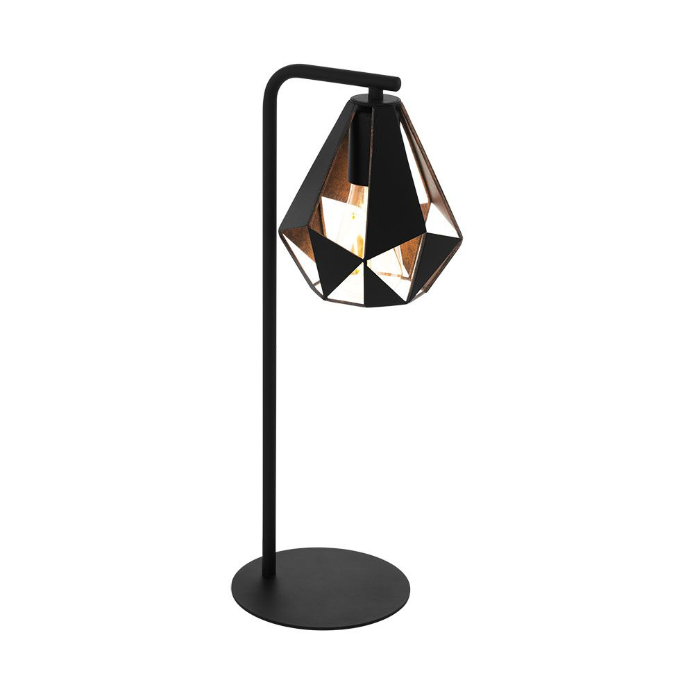 Eglo Table Lamp in copper with Black Shade