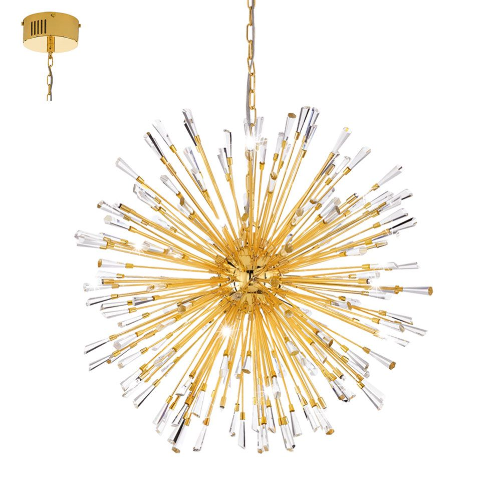 Eglo 39255 vivaldo 1 gold plated crystal starburst hanging pendant light