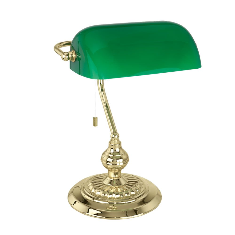 Eglo 90967 banker bright brass green glass traditional table lamp mozeypictures Gallery