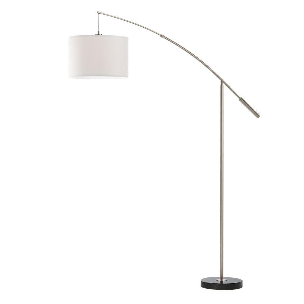 Eglo 92206 nadina satin nickel white shade boom arm floor lamp aloadofball Image collections